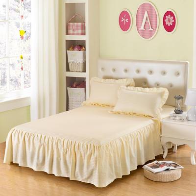 单品床罩类14 全棉缎条单层床罩/床裙12懒 120*200*45 米黄