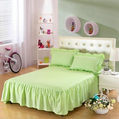 单品床罩类14 全棉缎条单层床罩/床裙12懒 120*200*45 浅绿
