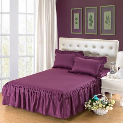 单品床罩类14 全棉缎条单层床罩/床裙12懒 120*200*45 深紫