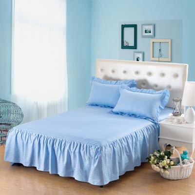 单品床罩类14 全棉缎条单层床罩/床裙12懒 120*200*45 天蓝