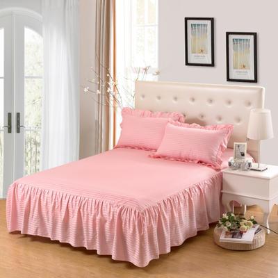 单品床罩类14 全棉缎条单层床罩/床裙12懒 120*200*45 玉色