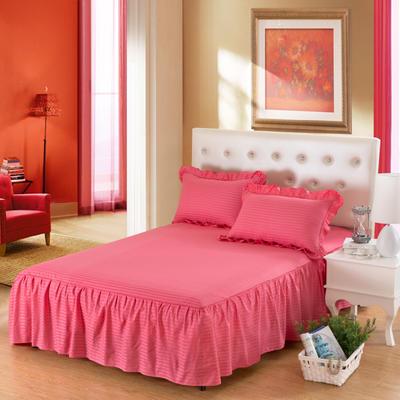 单品床罩类14 全棉缎条单层床罩/床裙12懒 120*200*45 砖红
