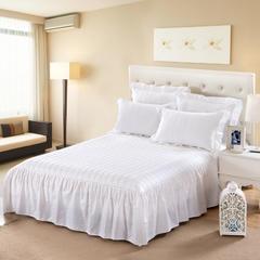 单品床罩类11 缎条夹棉床罩/床裙12懒 120*200*45 白色
