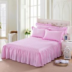 单品床罩类11 缎条夹棉床罩/床裙12懒 120*200*45 粉红