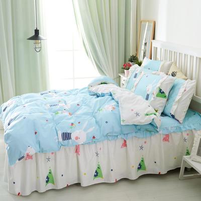 套件2-1:韩式单层床罩/床裙配双针被套四件套41 1.2床 两小无猜