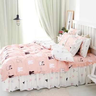 套件2-1:韩式单层床罩/床裙配双针被套四件套41 1.2床 萌兔