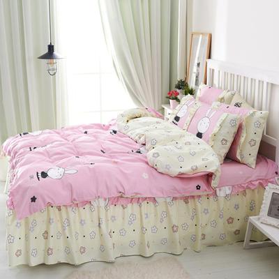 套件2-1:韩式单层床罩/床裙配双针被套四件套41 1.2床 迷你粉兔