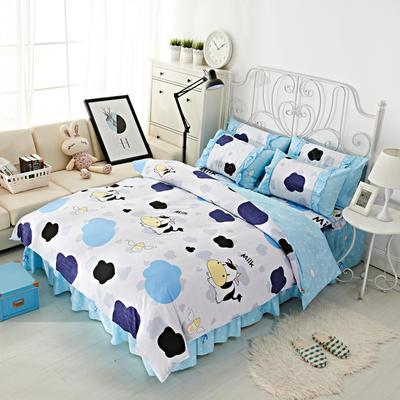 套件2-1:韩式单层床罩/床裙配双针被套四件套41 1.2床 迷你奶牛