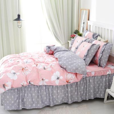 套件2-1:韩式单层床罩/床裙配双针被套四件套41 1.2床 那时花开