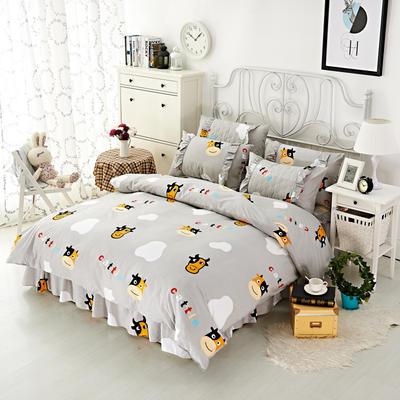 套件2-1:韩式单层床罩/床裙配双针被套四件套41 1.2床 牛在旅途
