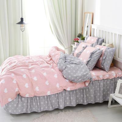 套件2-1:韩式单层床罩/床裙配双针被套四件套41 1.2床 清新物语粉