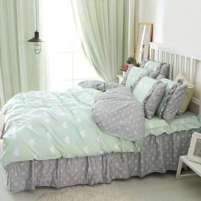 套件2-1:韩式单层床罩/床裙配双针被套四件套41 1.2床 清新物语蓝