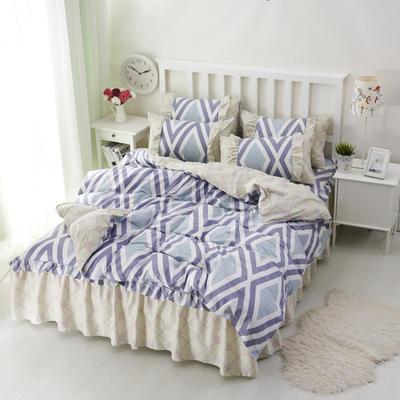 套件2-1:韩式单层床罩/床裙配双针被套四件套41 1.2床 天空之城