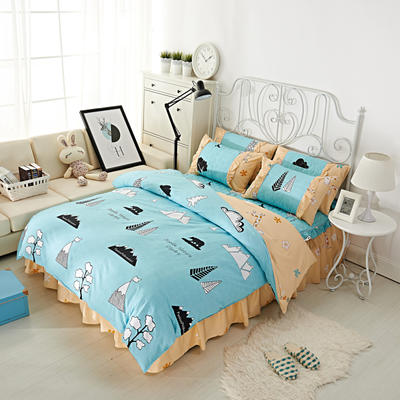 套件2-1:韩式单层床罩/床裙配双针被套四件套41 1.2床 雪岭熊风
