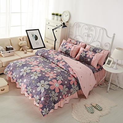 套件2-1:韩式单层床罩/床裙配双针被套四件套41 1.2床 幽兰花谷