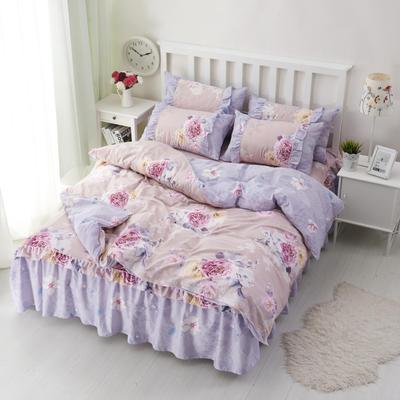 套件2-1:韩式单层床罩/床裙配双针被套四件套41 1.2床 月下私语