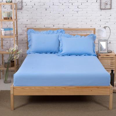 单品床笠类3 缎条单层床笠(床垫套)12 120cmx200cm 天蓝