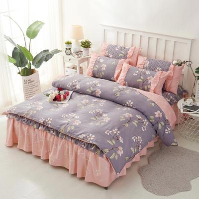 套件2-1:韩式单层床罩/床裙配双针被套四件套41 1.2床 韩春晓