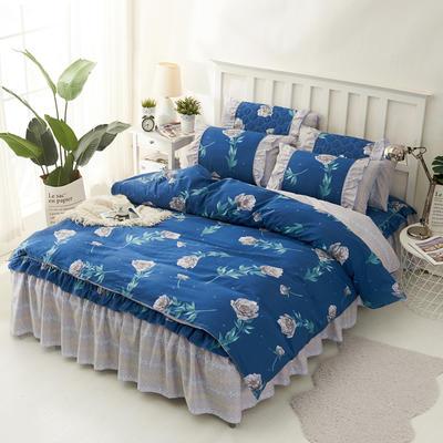 套件2-1:韩式单层床罩/床裙配双针被套四件套41 1.2床 韩唯野