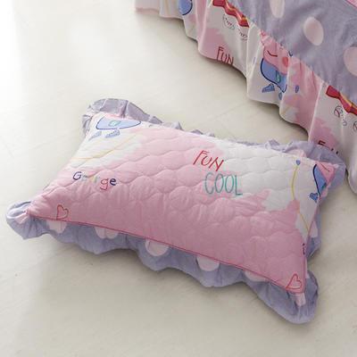 单品枕套类4   全棉普通夹棉枕 45CMX75CM 佩琪粉