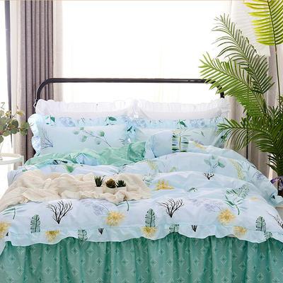 套件9 全棉床裙式床单四件套 1.5床 蕉叶