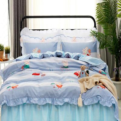 套件9 全棉床裙式床单四件套 1.5床 琦琦猪