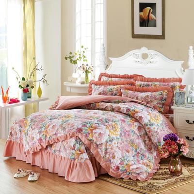 套件9 全棉床裙式床单四件套 1.5床 彩云玉色