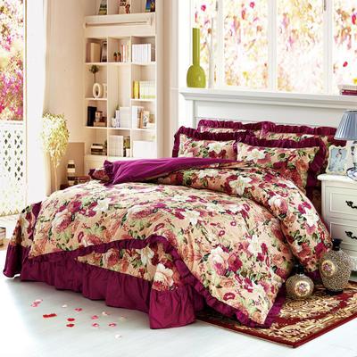 套件9 全棉床裙式床单四件套 1.5床 彩云紫色