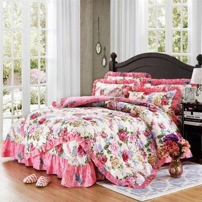 套件9 全棉床裙式床单四件套 1.5床 芬芳绽放