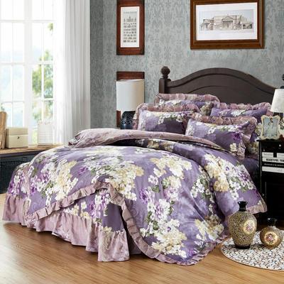 套件9 全棉床裙式床单四件套 1.5床 玛奇朵紫
