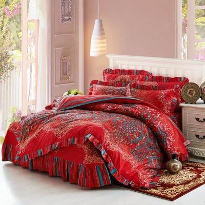 套件9 全棉床裙式床单四件套 1.5床 荣华富贵