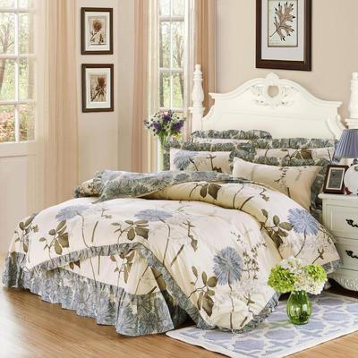 套件9 全棉床裙式床单四件套 1.5床 似水流年