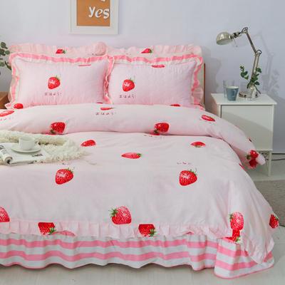 套件10  全棉夹棉床单(床盖)四件套 1.5床 草莓