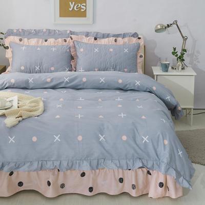 套件10  全棉夹棉床单(床盖)四件套 1.5床 点点