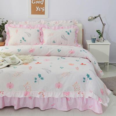 套件10  全棉夹棉床单(床盖)四件套 1.5床 果实