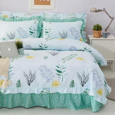套件10  全棉夹棉床单(床盖)四件套 1.5床 蕉叶