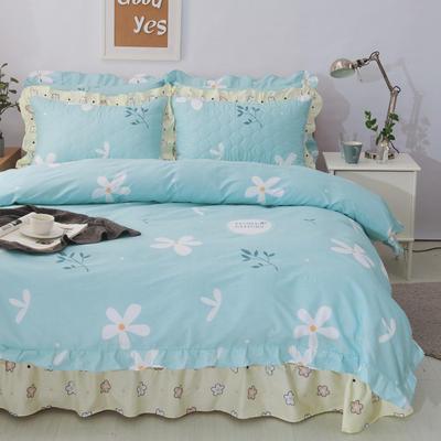 套件10  全棉夹棉床单(床盖)四件套 1.5床 沁香
