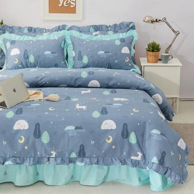 套件10  全棉夹棉床单(床盖)四件套 1.5床 晚安