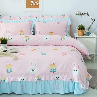 套件10  全棉夹棉床单(床盖)四件套 1.5床 小白兔