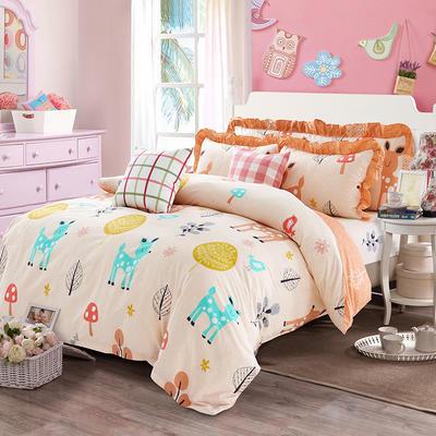 套件19 全棉小清新多规格床单四件套46 小四件套1.0-1.35床 童话小鹿A