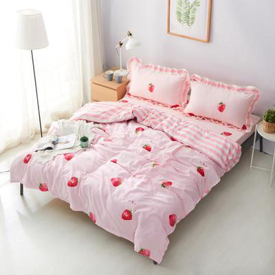 套件19 全棉小清新多规格床单四件套46 小四件套1.0-1.35床 小草莓粉