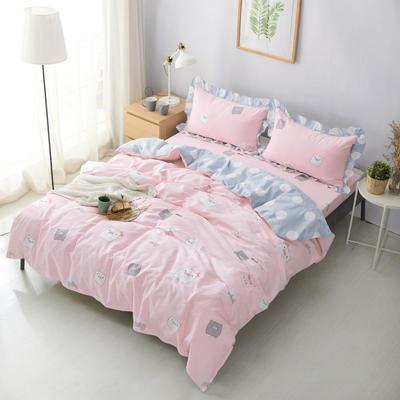 套件19 全棉小清新多规格床单四件套46 小四件套1.0-1.35床 小猪宝宝粉