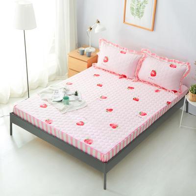 单品床笠类2 印花夹棉床笠(床垫套) 120cmx200cm 小草莓粉