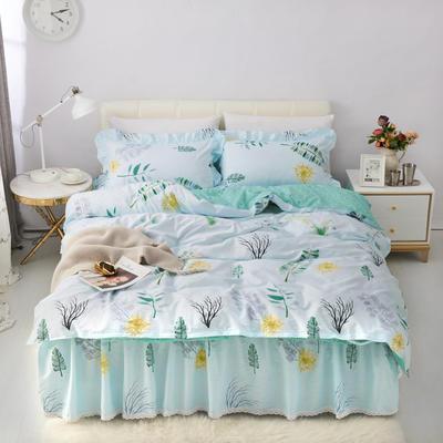 套件5-2:全棉暖冬系列小蕾丝单层床裙四件套 1.2m(4英尺)床 小白兔