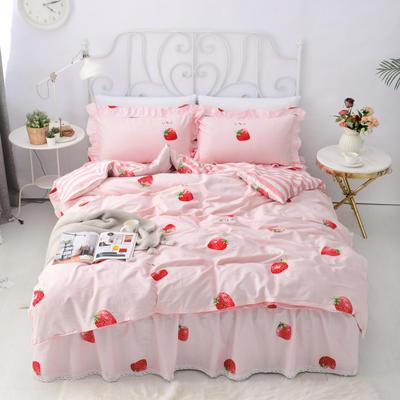 套件5-2:全棉暖冬系列小蕾丝单层床裙四件套 1.2m(4英尺)床 草莓