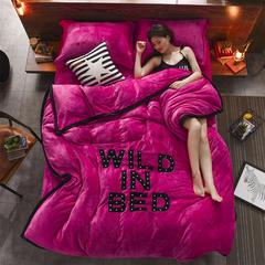 宝瑞 极地保暖绒网红款贴布绣四件套 1.5m(5英尺)床 疯狂爱恋 玫红