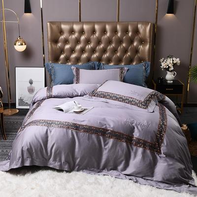 2019新款60支双股长绒棉轻奢系列四件套 1.8m床单款四件套 巴黎世家-优雅紫灰