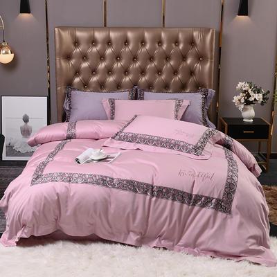 2019新款60支双股长绒棉轻奢系列四件套 1.8m床单款四件套 巴黎世家-奢华紫粉