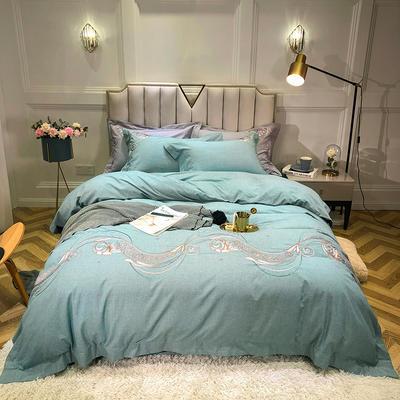 2019新款色织提花四件套 1.8m床四件套 欧若拉-绿
