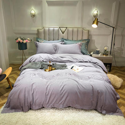 2019新款色織提花四件套 1.8m床四件套 歐若拉-淺紫